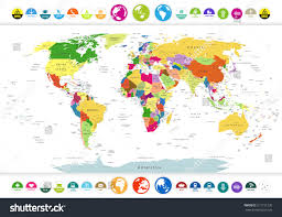 World Map With Countries Labeled by Political World Map Flat Icons Globeshighly Stock Vector 317731235