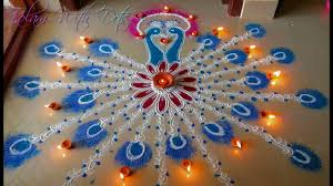 Peacock Decorations by Beautiful Peacock Rangoli Designs With Colours Easy Step By Step