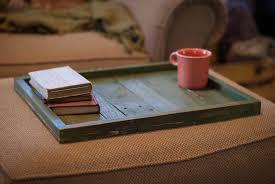 furniture handmade wooden large ottoman tray on brown ottoman