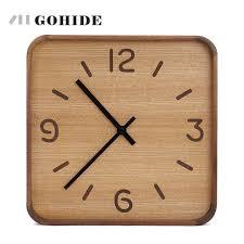square wood wall juh a wooden wall clock creative modern wall clock retro pocket