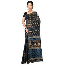 jamdani sharee buy hawai black tant jamdani saree online best prices in india