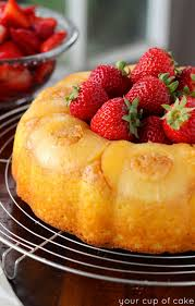 pineapple bundt cake with sweet strawberries your cup of cake