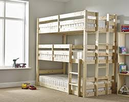 Tier Triple Bunkbed With THREE Mattresses Ft Single Triple - Triple bunk beds with mattress