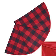 plaid tree skirt promotion skirt 50 buffalo check plaid with high quality velvet