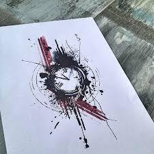 abstract watercolor trash polka clock tattoo design sketching