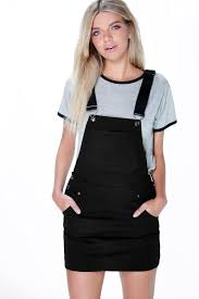 hollie denim dungaree pinafore dress boohoo
