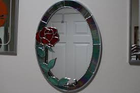 Home Decor Gifts For Mom Stained Glass Oval Mirror With Red Rosehome Decorhandmade