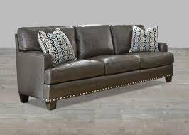 Gray Leather Sofa Top Grain Leather Sofa With Nailhead
