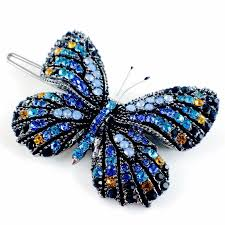 butterfly hair clip fairy butterfly hair clip swarovski gun black base multi