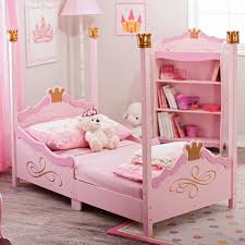 princess canopy bed design for kid girls in pink black and white