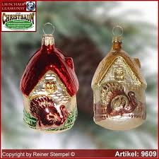 tree ornaments house with gobbler glass figure glass shape