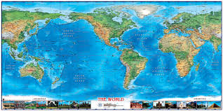 World Atlas Maps by World Physical Wall Map Americas Centered With World Wonders By