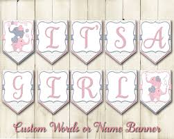 it u0027s a sign baby shower banner pink grey elephants