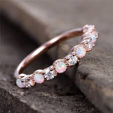white fire rings images Boako simple ring round white pink white fire opal rings for women jpg