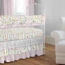 Pink And Gray Primrose 3 Piece Crib Bedding Set Carousel Designs