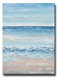 original art blue abstract painting large textured beach coastal