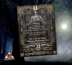 spooky halloween skeleton invitation template spooky