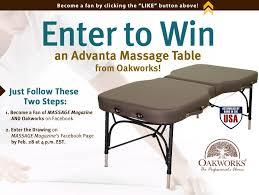 oakworks electric massage table win an oakworks massage table in massage magazine s february