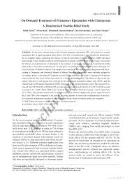 Double Blind Research On Demand Treatment Of Premature Ejaculation With Citalopram A