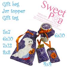 gift halloween halloween gift bag jar topper and gift tag set in the hoop