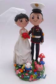 us marine and amanda wedding cake topper clay cake topper of