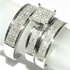 Wedding Ring Trio Sets by His And Her Trio Wedding Rings Set 1ct W Diamonds 10k White Gold