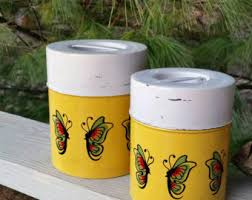 yellow canister sets kitchen canisters etsy