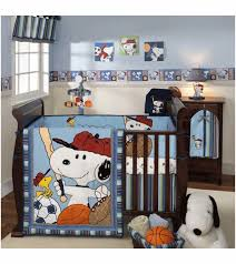 Snoopy Crib Bedding Lambs Team Snoopy 5 Crib Bedding Set