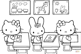hello kitty back to coloring page free printable new first