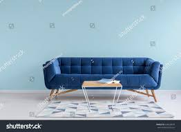 pretty simple decor living room blue stock photo 634628618