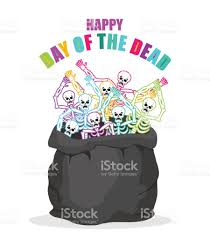 is halloween a national holiday day of the dead skeletons in sack multicolored skull in bag