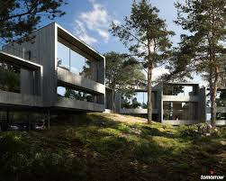 cgarchitect professional 3d architectural visualization user the project follows the conditions the nature provides and the houses float freely on pillars in the slopes to