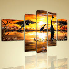 Bedroom Wall Decorations Modern Abstract Landscape Wall Art Print On Canvas Hd Giraffe Sunset