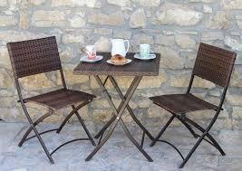 tavolino da terrazzo set arredo giardino in polyrattan con tavolo e 2 sedie