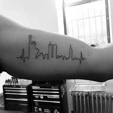new york skyline minimalist guys bicep tattoo tattoo ideas