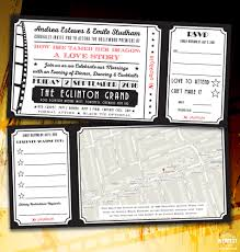 themed invitations cinema and themed wedding stationery wedfest