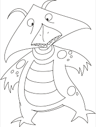 kite face monster flying sky coloring pages
