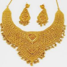 set of gold bridal gold necklace set at rs 35000 set gold necklace set id