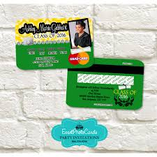 yellow u0026 green graduation announcement cards credit card