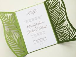 palm tree wedding invitations laser cut palm leaf tree wedding invitation gatefold style