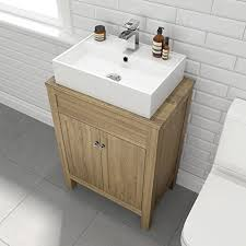 traditional bathroom furniture countertop basin unit oak effect
