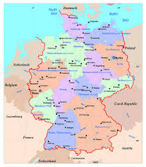 map of germany showing rivers stylized map of germany showing states rivers and big cities at