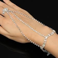 bracelet chain ring images Silver plated crystal rhinestone ring bracelet three chain jpg
