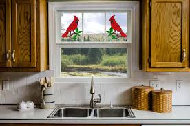 faux stained glass kitchen cabinets cardinals window cling set 2 pkg faux stained glass suncatchers