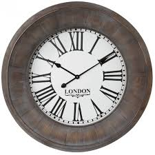 Grande Horloge Murale Carrée En Bois Vintage Achat Murale Brocante Grand Diamètre D 78 Cm En Bois Et Verre Coloris