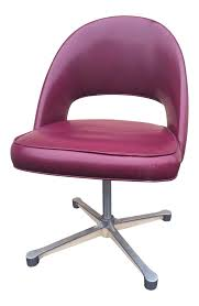 Mid Century Modern Swivel Chair by Mid Century Burgundy Swivel Chair Eero Saarinen Style Chairish