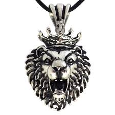 steel heart necklace images Stainless steel crowned leo lion head pendant necklace jpg
