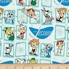 the jetsons the jetsons retro frames blue discount designer fabric fabric com