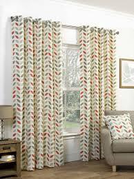 Vintage Eyelet Curtains Curtain Neo Geometric Modern Leaf Print Lined Eyelet Curtains