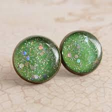 sparkly green earrings green earrings post earrings stud earrings resin earrings